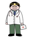Doctor. Illustration of a friendly cartoon doctor, with stethoscope and emergency bag Stock Images