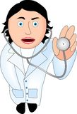Doctor. White gown, stethoscope in his hand Royalty Free Stock Photography
