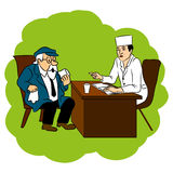 The doctor advises grandfather cure for the disease, vector cartoon doodle illustration. Royalty Free Stock Photos