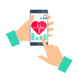 Doctor advises a patient on the phone. Telemedicine and teleheal. Doctor advises a patient on a phone. Telemedicine and telehealth flat concept illustration. Man Royalty Free Stock Photo