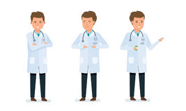 Doctor advises, shows respiratory gymnastics, rests, relaxes, snacks, drinks coffee. Set of character medical doctor. Healthcare and medical help. Doctor Royalty Free Stock Image
