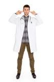 Doctor aislado en blanco - no oye ningún mal fotos de archivo libres de regalías