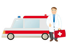 Doctor and ambulance Stock Image