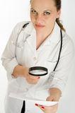 Doctor analyzing document Stock Photos