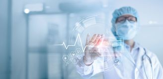 Doctor analyzing and examines data a digital holographic plate the brain of patient in laboratory background, Dementia, Alzheimer,