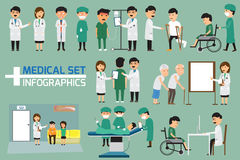 Doctor And Medical Set With Patient In Various Pose Royalty Free Stock Photo