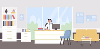 Free Doctor Appointment Flat Vector Illustration, Cartoon Physician Woman Character Sitting At Doctoral Medical Workplace Stock Photos - 191310953