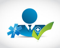 Doctor and approval check mark. isolated Royalty Free Stock Photography