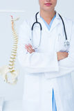 Doctor with arms crossed with anatomical spine behind Royalty Free Stock Image