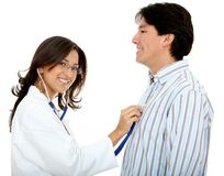 Doctor assessing a patient Stock Images