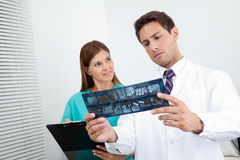 Doctor And Assistant Analyzing Patient's Report Stock Photos