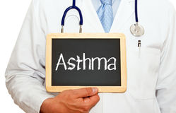 Doctor with asthma sign royalty free stock photo