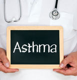 Doctor with asthma sign Royalty Free Stock Photography