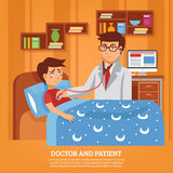 Doctor Attending Patient Home Flat Illustration. Doctor practitioner in white coat with stethoscope attending sick schoolboy at home poster flat abstract vector Royalty Free Stock Photo