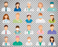 Doctor avatars on transparent background. Professional doctor avatars isolated on transparent background. Medicine professionals and medical staff people icons Stock Photography