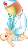 Doctor and baby icon Royalty Free Stock Images