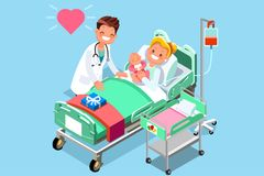 Doctor and Baby Medical Isometric People Stock Images