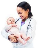 Doctor and baby on a white background Royalty Free Stock Photos