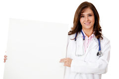 Doctor with a banner Stock Photos