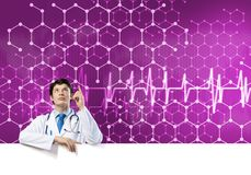 Doctor with banner Stock Image