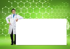 Doctor with banner. Young handsome doctor with white blank banner. Place your text vector illustration
