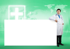 Doctor with banner Stock Photos