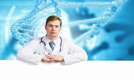 Doctor with banner Stock Photo