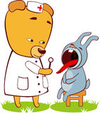 Doctor bear. The doctor examines a sick hare Stock Photos