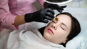 Doctor beautician colors eyebrow of girl. Doctor beautician colors eyebrow of a young girl stock video footage