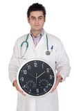 Doctor with big clock Stock Photos