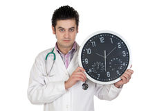 Doctor with big clock Stock Photography