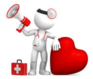 Doctor with big red heart and stethoscope Stock Photography