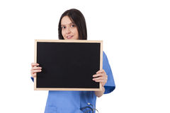 Doctor with blackboard royalty free stock photo