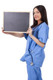 Doctor with blackboard stock photo