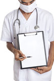 Doctor with blank banner Royalty Free Stock Photography