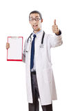 Doctor with blank binder on white Stock Image