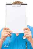 Doctor with a blank in the hands Royalty Free Stock Photo