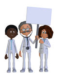 Doctor with a blank sign and his team Stock Photography