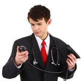 Doctor with blood pressure guage Stock Photo