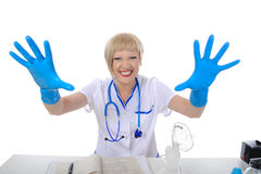 Doctor in blue gloves. Stock Images