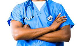Doctor in Blue Scrubs Stock Images