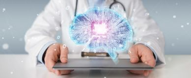 Doctor creating artificial intelligence interface 3D rendering. Doctor on blurred background creating artificial intelligence interface 3D rendering