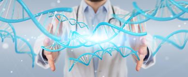 Doctor holding blue digital DNA structure 3D rendering. Doctor on blurred background holding blue digital DNA structure 3D rendering Royalty Free Stock Photo