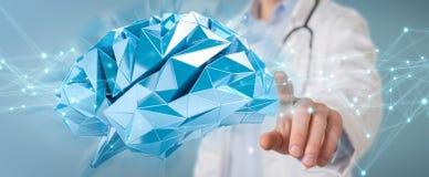 Doctor holding digital brain interface 3D rendering. Doctor on blurred background holding digital brain interface 3D rendering Stock Photos