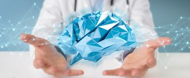Doctor holding digital brain interface 3D rendering. Doctor on blurred background holding digital brain interface 3D rendering Royalty Free Stock Images