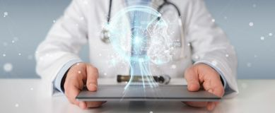 Doctor using digital artificial intelligence interface 3D render. Doctor on blurred background using digital artificial intelligence interface 3D rendering stock illustration