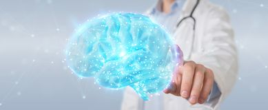 Doctor using digital brain scan hologram 3D rendering stock illustration