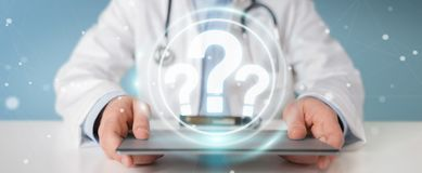 Doctor using digital question marks interface 3D rendering royalty free illustration