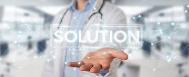 Doctor using modern digital solution interface 3D rendering. Doctor on blurred background using modern digital solution interface 3D rendering Royalty Free Stock Photo