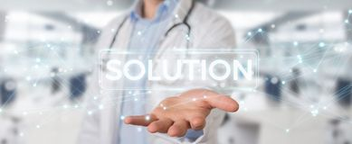 Doctor using modern digital solution interface 3D rendering. Doctor on blurred background using modern digital solution interface 3D rendering Royalty Free Stock Photos